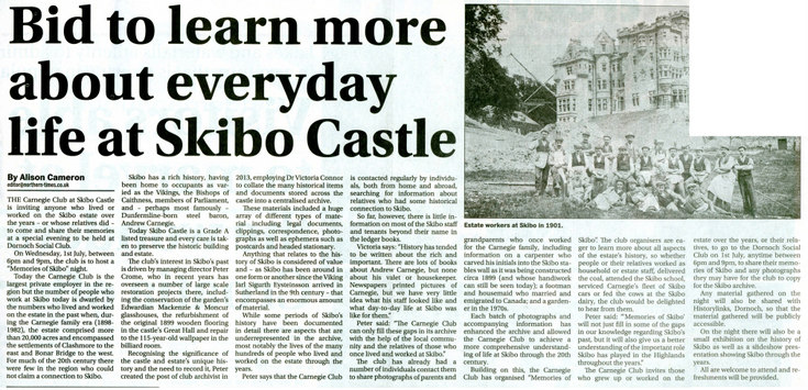 Bid to learn more about Skibo Castle