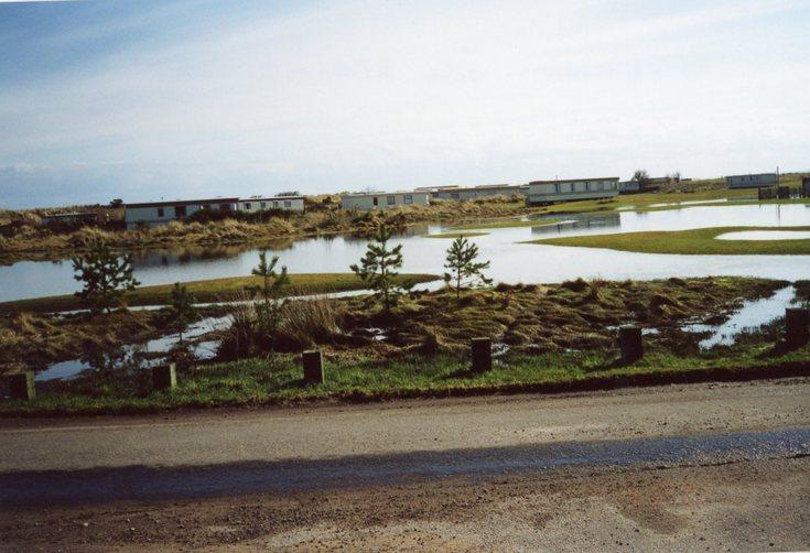 Flash flooding Dornoch Caravan Park  c 2010