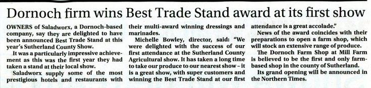 Dornoch firm wins Best Trade Stand award