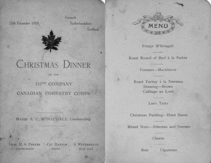 CFC 117 Coy Christmas Dinner Menu 1918