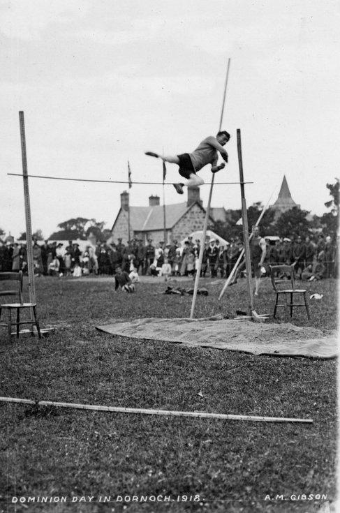 Pole vault at Dominion Day sports Dornoch