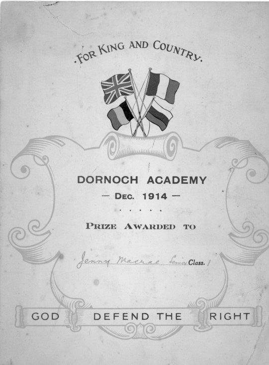 Prize Certificate awarded to Jenny Macrae 1914