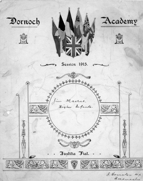 Certificate awarded to Jim Macrae 1915