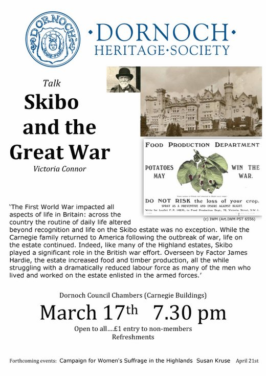 DHS talk on Skibo and the Great War