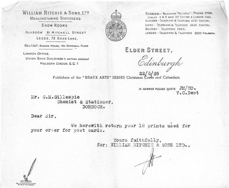 Letter concerning postcard order