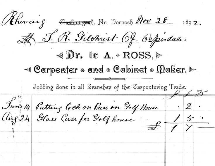 Account owed to A Ross by J R Gilchrist 1892