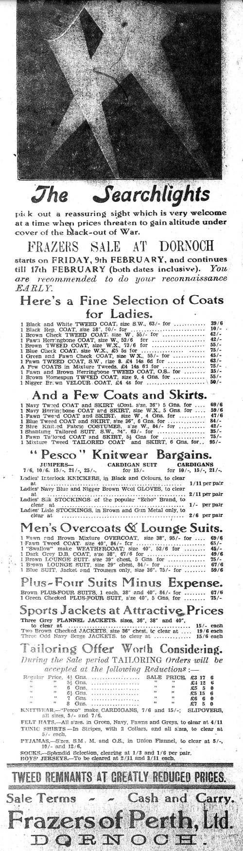 Advert for Frazers of Perth, Dornoch