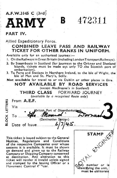 Army leave pass and railway ticket