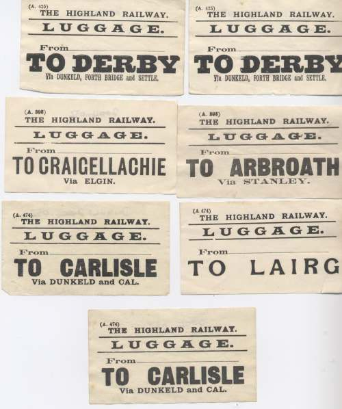 Highland Railway luggage labels