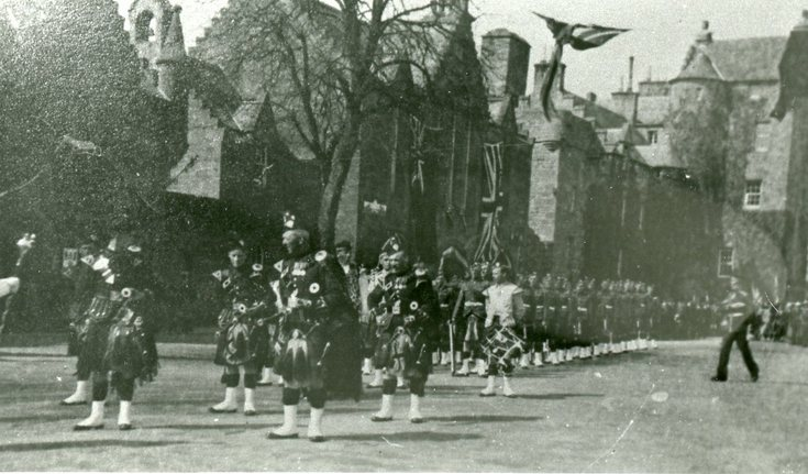 Pipes & Drums leading a military parade