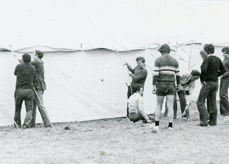 Erecting the marquee Dornoch Highland Games