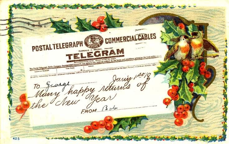 New Year card to George Gordon