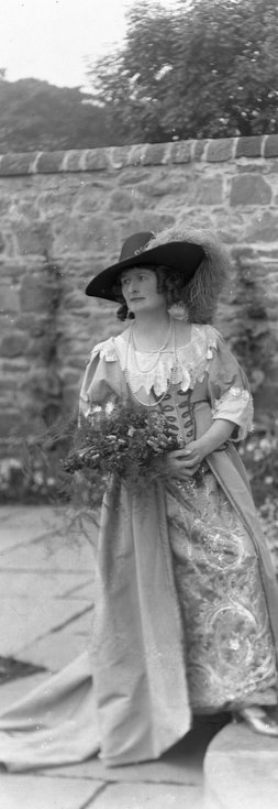 1928 Pageant Costume lady with flowers in Castle
