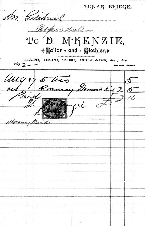 Invoice from D. McKenzie, tailor, to J. R. Gilchrist