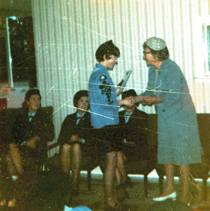 Presentation of Queen's Guide Badge to Ann Banks