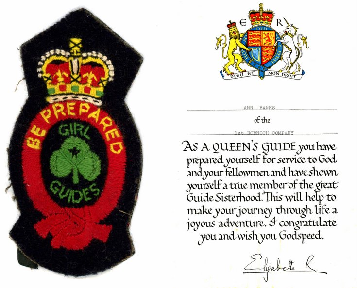 Cert + Queen's Guide Badge presented to Ann Banks