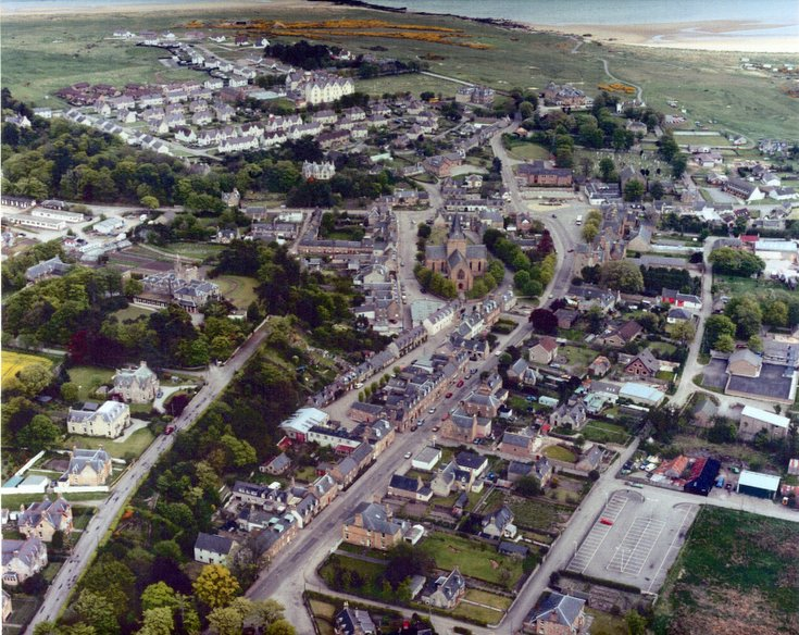 1980's Aerial view of Dornoch from the west