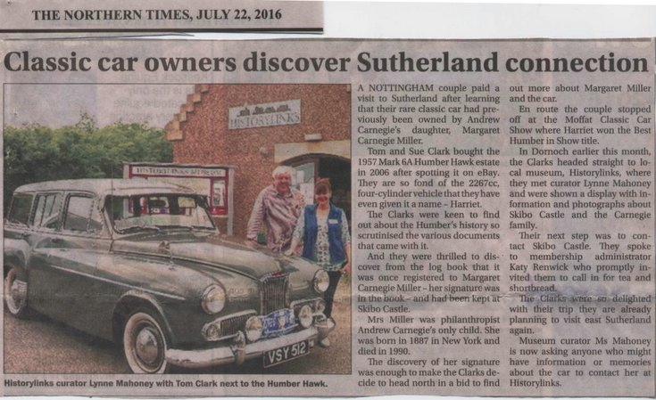 Classic car owners discover Sutherland connection