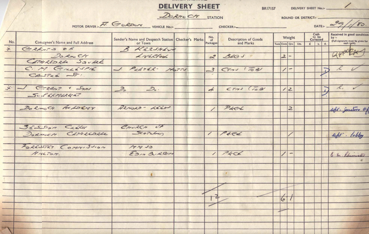 British Rail Express Parcels Delivery sheets 1980