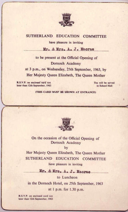Invitations to the Opening of Dornoch Academy