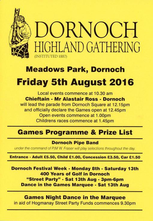 Dornoch Highland Gathering Games Programme 2016