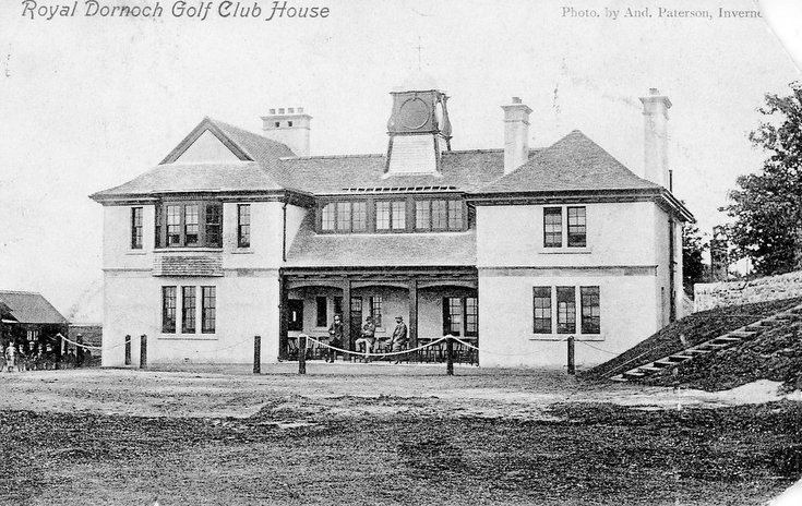 Postcard of the Royal Dornoch Golf Club clubhouse