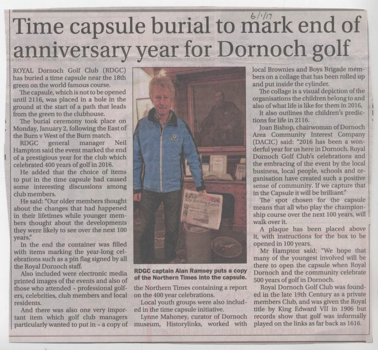 Timecapsule buried to mark Dornoch Golf anniversar