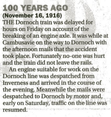 Broken engine axle delayed Dornoch Train 1916