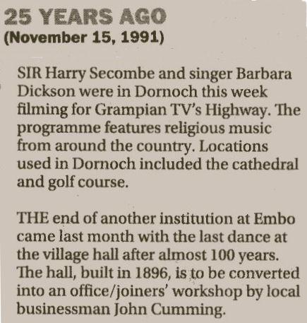 Grampian TV's Highway filmed at Dornoch