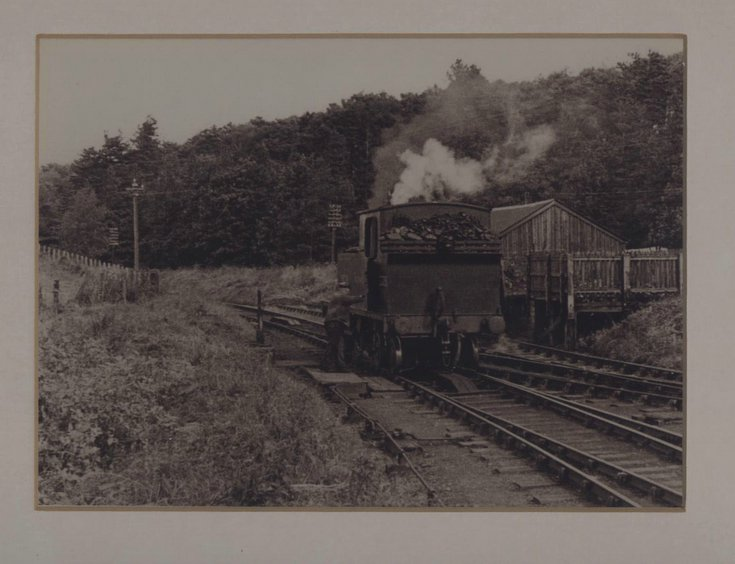 Framed photograph of engine in Dornoch sidings