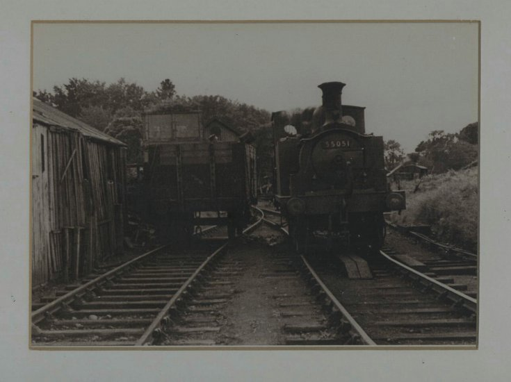 Framed photograph engine & wagon in Dornoch siding
