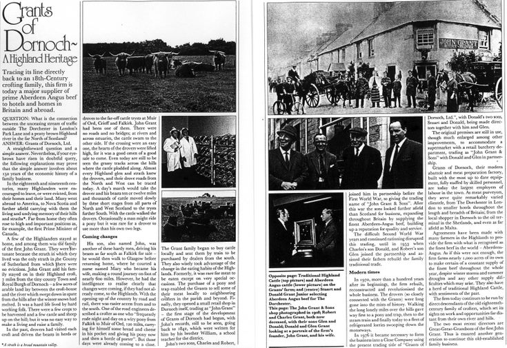 magazine article on Grants of Dornoch