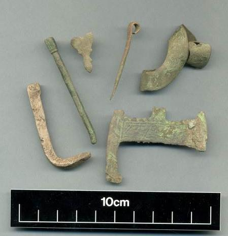 Medieval  pin, buckle and brooch fragment