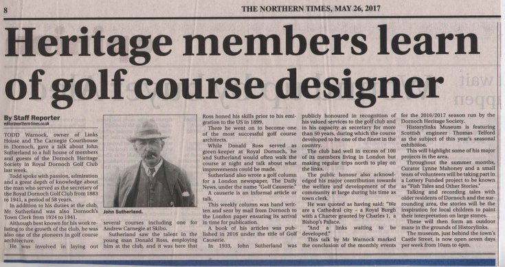 Heritage members learn of golf course designer