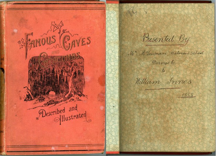 Inscription in book 'Famous Caves Described and Il
