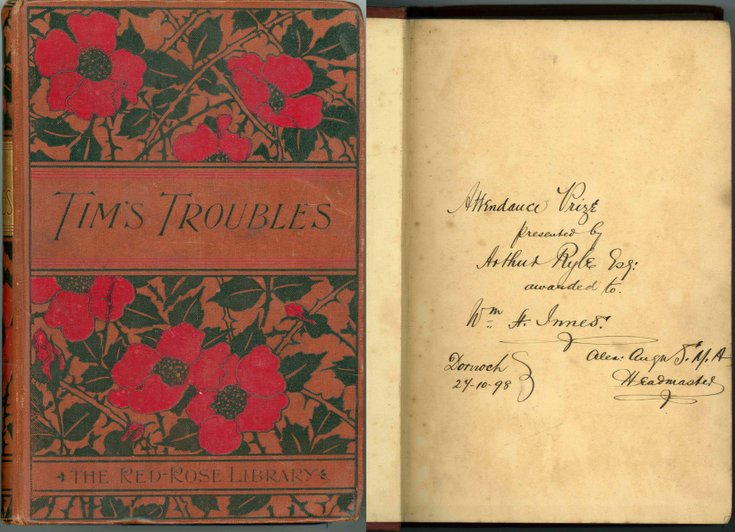 Inscription in book 'Tims Troubles''