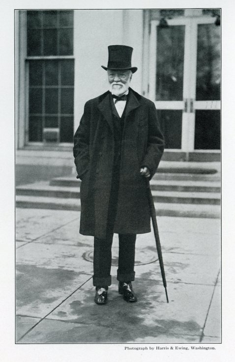 Andrew Carnegie with umbrella