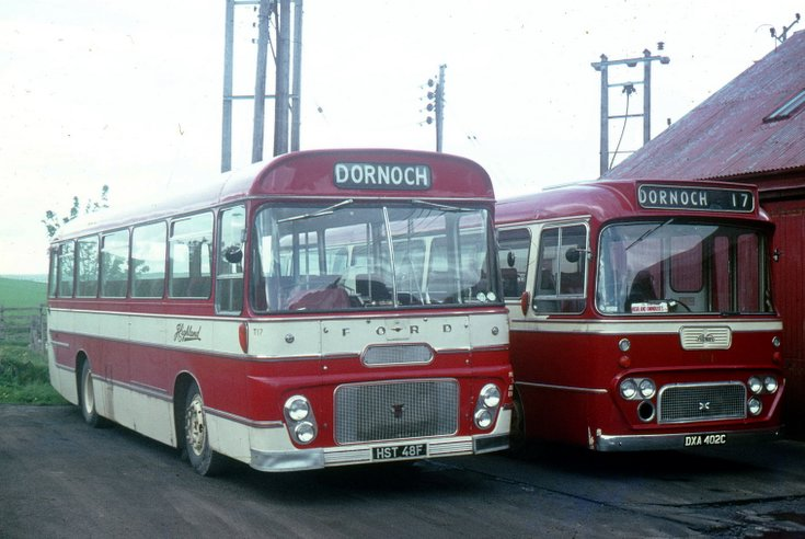 Two 1960's  single deck buses at Dornoch garage