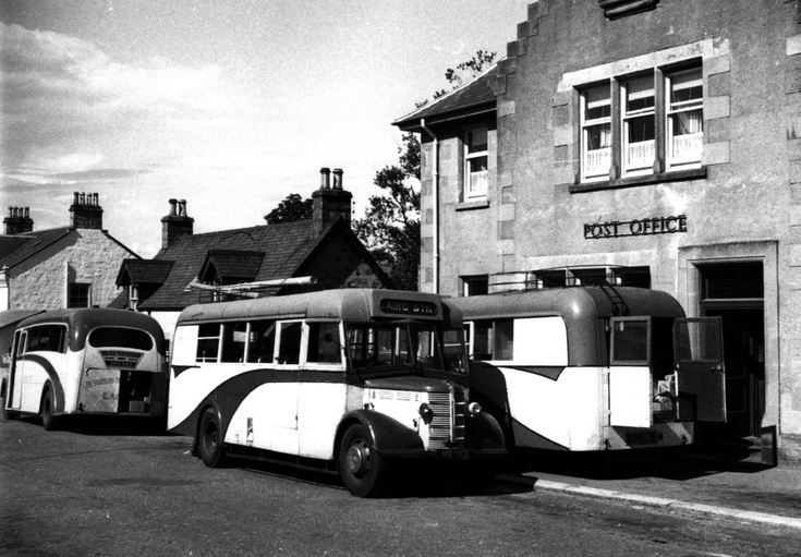 Mail buses outside the Post Office in Lairg