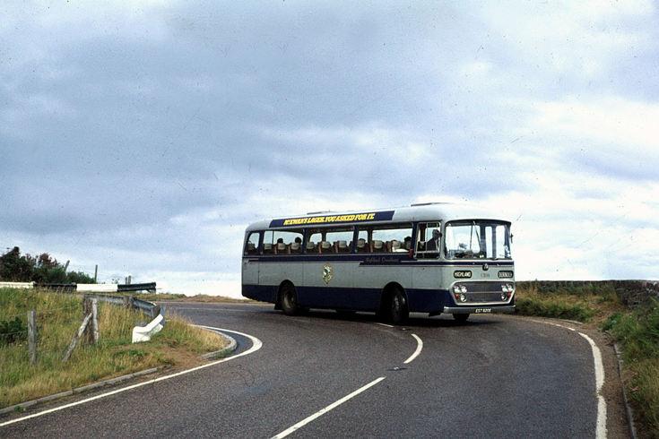 Highland bus negotiating Berriedale bends