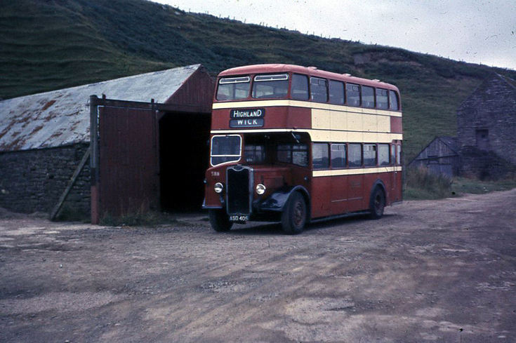 Highland bus at the bus garage in Dunbeath