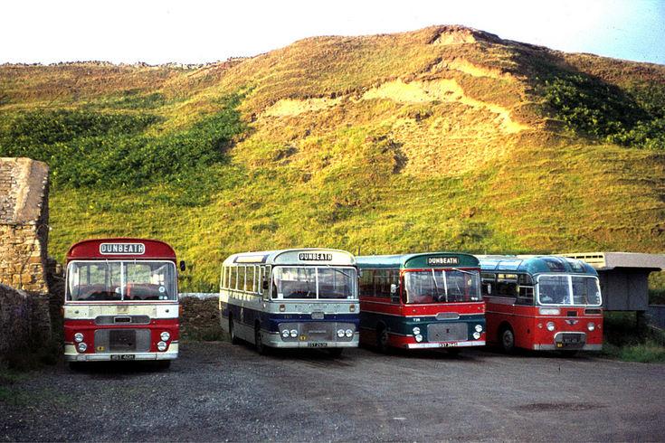 Single deck Highland buses at Dunbeath garage
