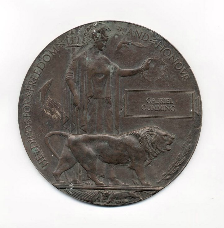 WW1 bronze plaque in memory of Gabriel Cumming
