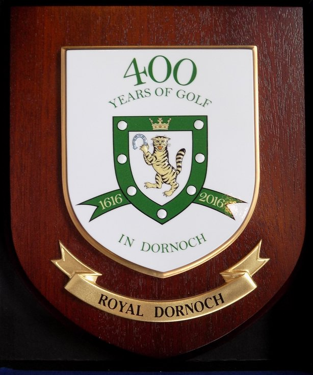 Plaque commemorating 400 years of golf in Dornoch