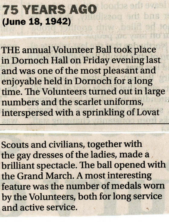 Volunteer ball in Dornoch Hall 1942