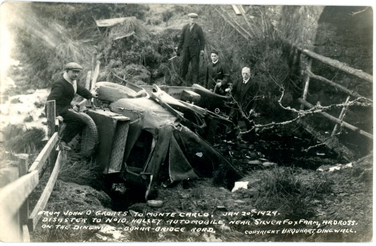 Monte Carlo rally accident at Ardross 20 Jan 1929