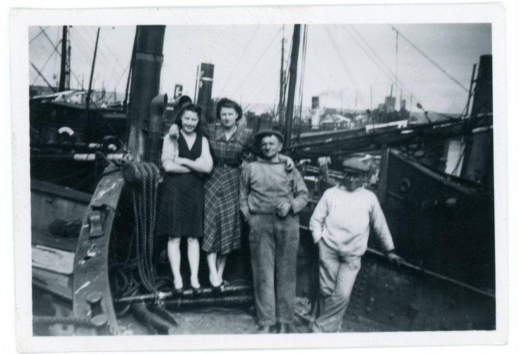 Bella Mackay & Jessie Ross on a fishing boat