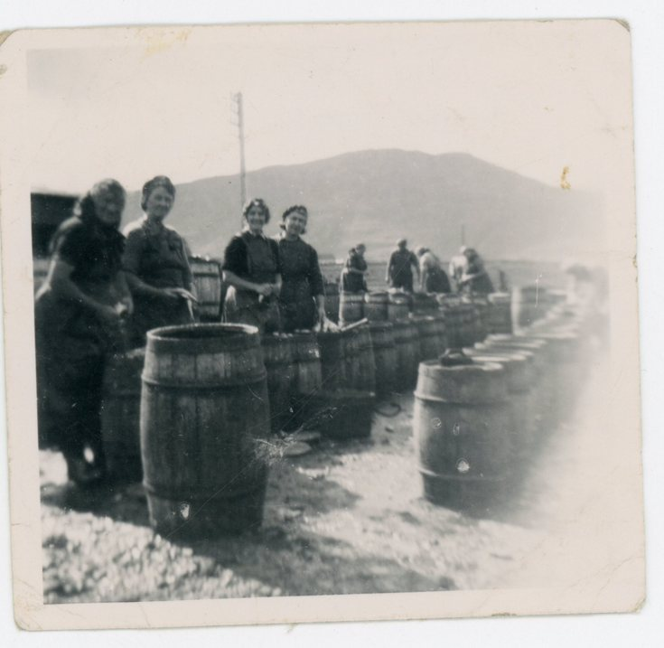 Group photograph packing barrels