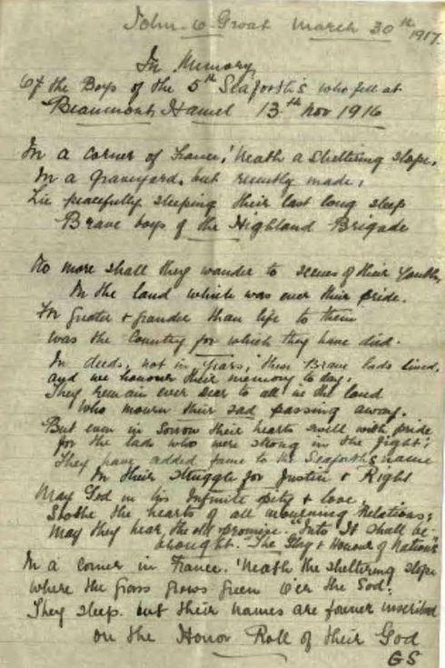 'In Memory' World War 1 Poem