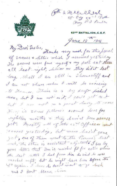 Letter from Alex McCulloch to his sister Jo 1916